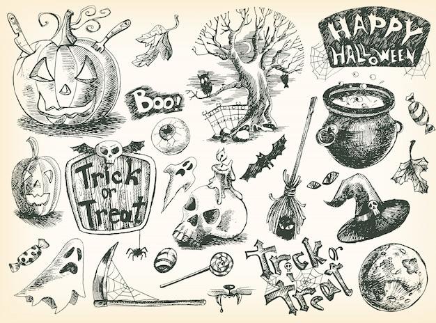 Vintage hand gezeichnete halloween-set: kürbis, auge, baum, dose