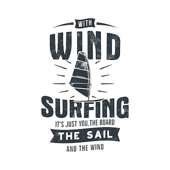 Vintage hand gezeichnete windsurfillustration
