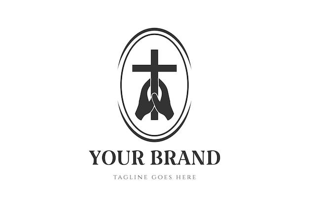 Vintage hand halten jesus christian cross badge emblem label für kirchenkapelle oder religion logo design vector
