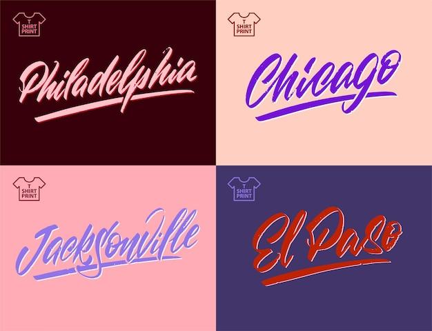 Vintage handgeschriebene beschriftung von amerika-städten chicago philadelphia-jacksonville-vektor-clipart