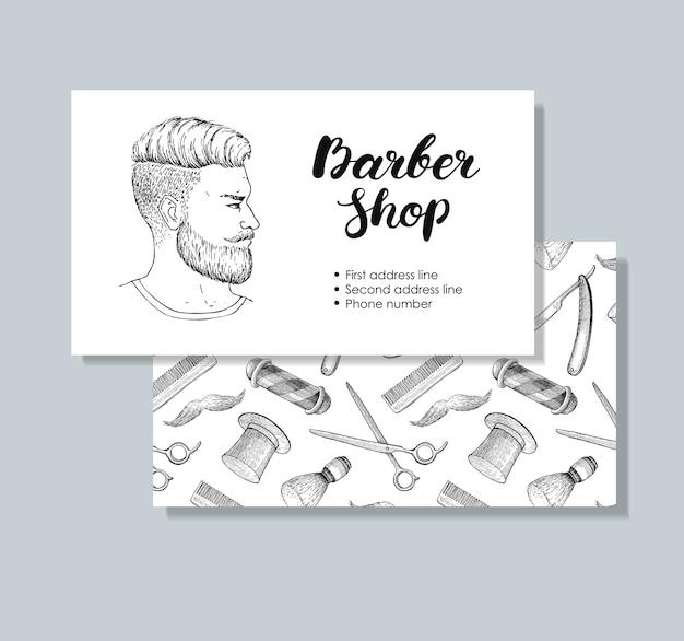 Vintage handgezeichnete barber shop-visitenkarten.