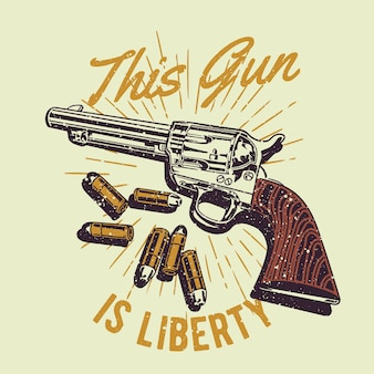 Vintage handgezeichnete cowboy-pistole mit grunge-effekt und star burst-hintergrund
