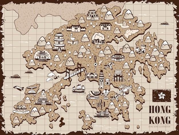 Vintage handgezeichnete hongkong-reisekarte