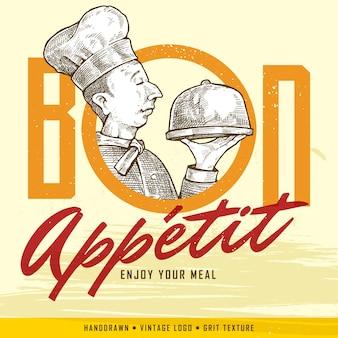 Vintage handgezeichneten chef hält ein fach und bon appetit (genießen sie ihre mahlzeit) zeichen. klassisches banner oder label für restaurants und cafés.