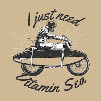 Vintage handgezeichneter mann auf motorrad trug surfbrett mit grunge-effekt und starburst-hintergrund