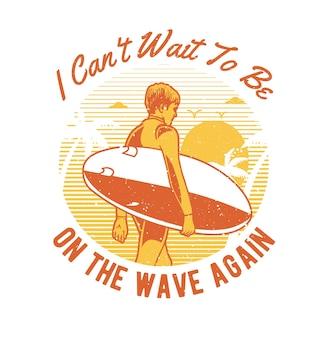 Vintage handgezeichneter surferjunge mit grunge-effekt und starburst-hintergrund