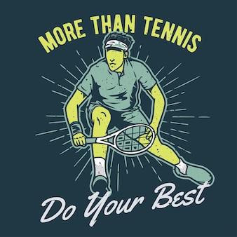 Vintage handgezeichneter tennisspieler mit grunge-effekt und star burst-hintergrund