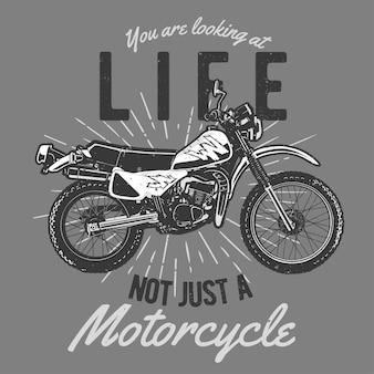 Vintage handgezeichnetes motorrad mit grunge-effekt und star burst-hintergrund