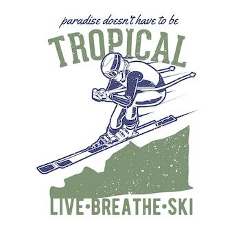 Vintage handgezeichnetes skifahren mit grunge-effekt und star burst-hintergrund