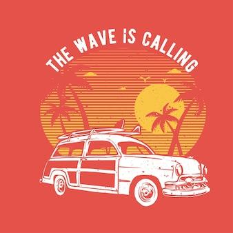 Vintage handgezeichnetes surfer-auto am strand mit grunge-effekt und stern-burst-hintergrund
