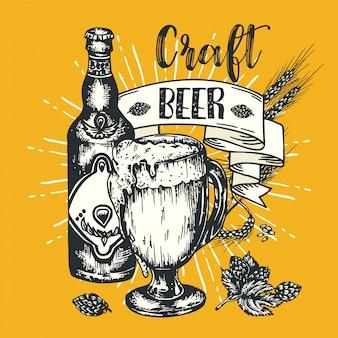 Vintage handwerk bier poster