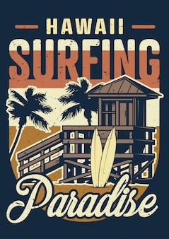 Vintage hawaii, das buntes plakat surft