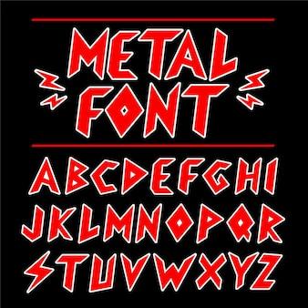 Vintage heavy-metal-schrift, alphabet-set-sammlung