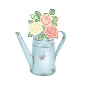 Vintage hellblaue gießkanne mit einem strauß rosa und weißer rosen