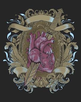 Vintage heraldik mit blumenschmuck