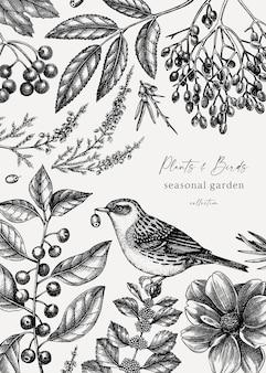 Vintage herbstdesign mit vogel elegante botanische vorlage mit herbstlaub