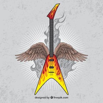 Vintage hintergrund der e-gitarre mit flügeln