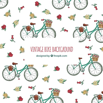 Vintage hintergrund mit fahrrädern und blumen