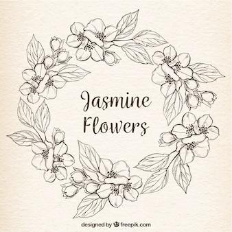 Vintage hintergrund mit hand gezeichnet jasmin kranz