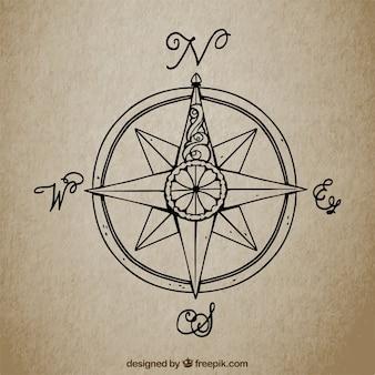 Vintage hintergrund mit hand gezeichnet kompass