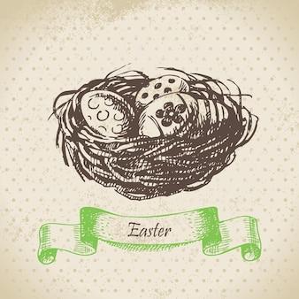 Vintage-hintergrund mit ostereiern und nest. handgezeichnete abbildung