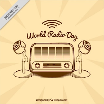 Vintage hintergrund mit radio und mikrofone