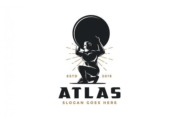 Vintage hipster atlas gott logo-symbol