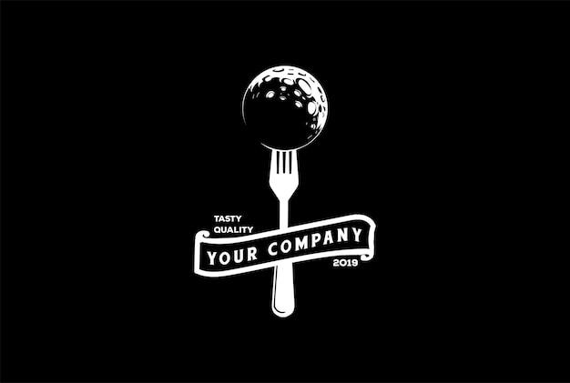 Vintage hipster moon planet mit gabel und band für café-restaurant-logo-design-vektor