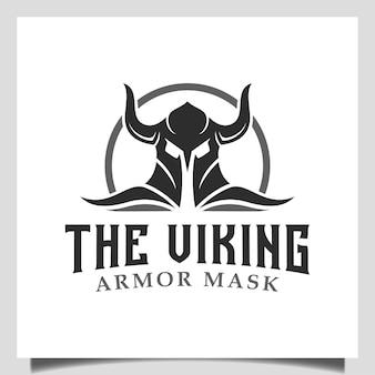 Vintage hipster viking armor helm logo-design für cross fit, bootsschiff, fitnessstudio, game club, teamsportsymbol