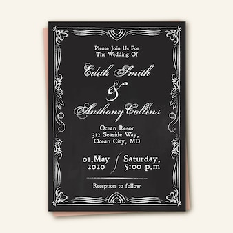 Vintage hochzeit einladungsvorlage auf blackboar