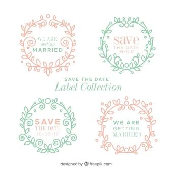 Vintage hochzeit etiketten mit floralen rahmen