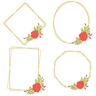 Vintage hochzeit geometrische florale rahmen sammlungen