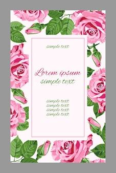 Vintage hochzeitseinladungen mit rosa rosen und rechteckigem rahmen. blumen für grußkarte