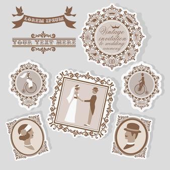 Vintage hochzeitsetikett mit brautpostkarten und retro-dekor-isolaten