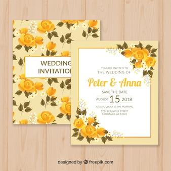 Vintage Hochzeitskartenschablone mit Blumenart