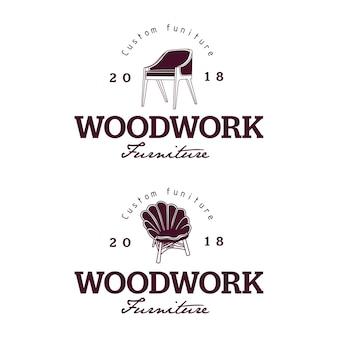 Vintage holzarbeiten abzeichen logo