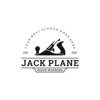 Vintage holzbearbeitungswerkzeug logo design