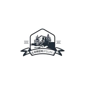 Vintage holzhaus see logo isoliert auf weiß
