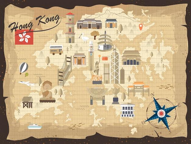 Vintage hong kong reisekonzept karte im flachen design