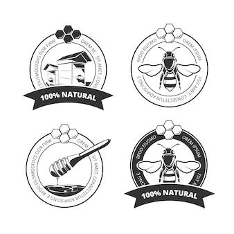 Vintage honig und biene vektor etiketten