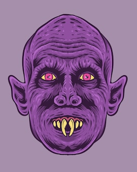 Vintage horror face illustration