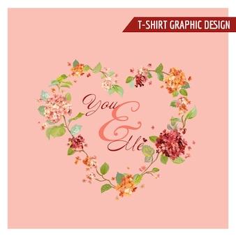 Vintage hortensien-blumen-grafikdesign