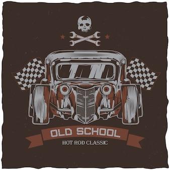 Vintage hot rod t-shirt etikettendesign mit illustration des benutzerdefinierten geschwindigkeitsautos. hand gezeichnete illustration.