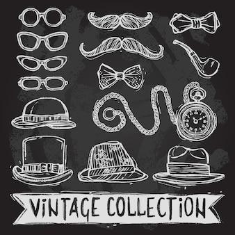 Vintage hüte und brillen gesetzt
