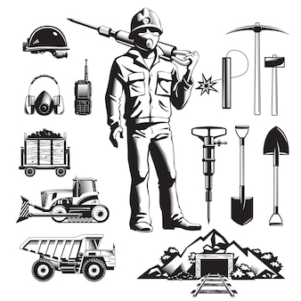 Vintage icons set der bergbauindustrie