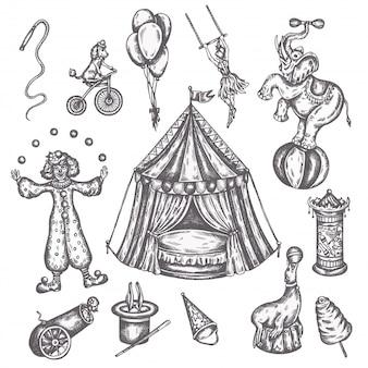 Vintage ikonen des zirkus eingestellt. hand gezeichnete skizze von tieren und vergnügen vektorillustrationen von performformen