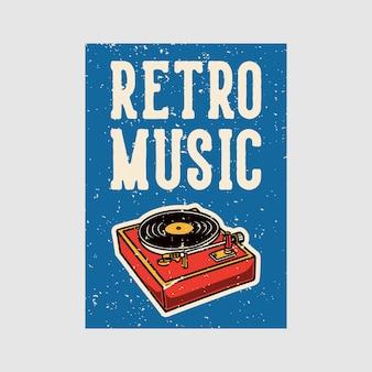 Vintage-illustration der retro-musik des plakats im freien