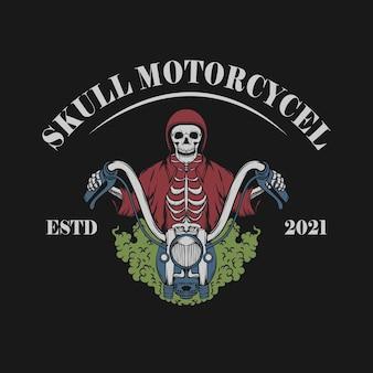 Vintage illustration des schädels mit motorrad