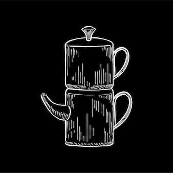 Vintage illustration einer kaffeemaschine
