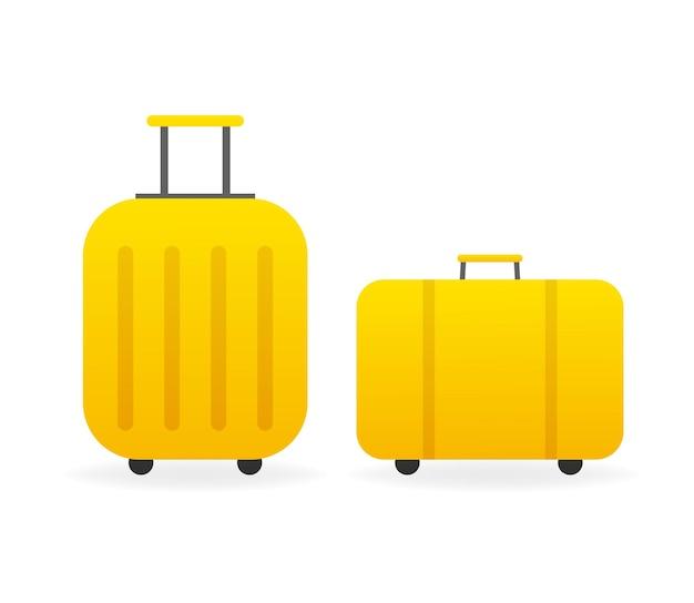 Vintage illustration mit gelbem koffer